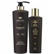 Greymy Gold Hair Keratin Treatment De Luxe + Greymy Clarifying Shampoo - Кератиновый крем с частицами золота 500мл + Шампунь очищающий 800мл